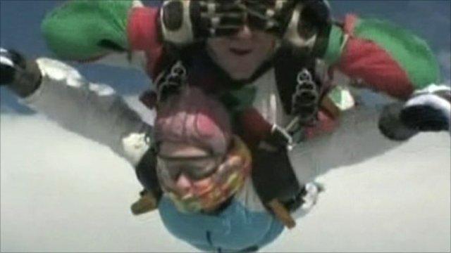 Clare Jones skydiving