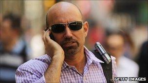 man uses phone