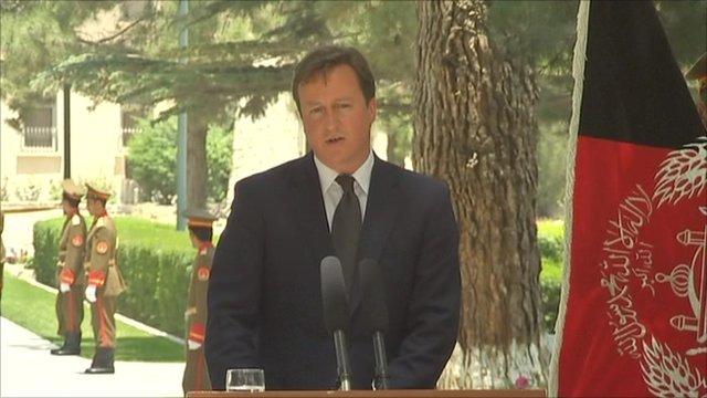 David Cameron speaking in Kabul