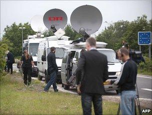 Media crews in the Danish town of Padborg, on the German border, 5 July