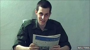 Gilad Shalit seen in a video message released in October 2009