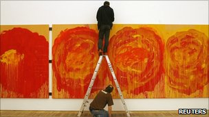 Cy Twombly work being installed