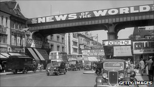 News of The World sign in Brixton in 1938