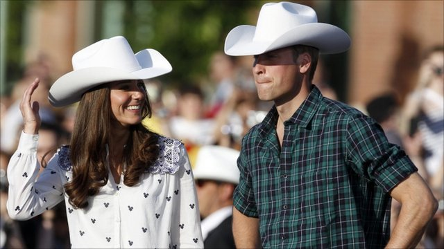 The Duke and Duchess of Cambridge have been trying on 10 gallon white cowboy hats - as their tour of Canada took them to Calgary for the annual stampede rodeo.
