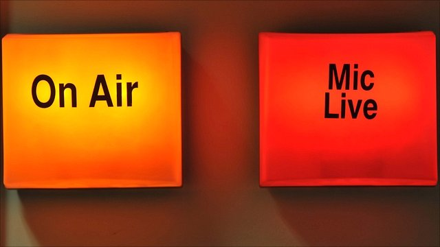 On air sign at TV studio