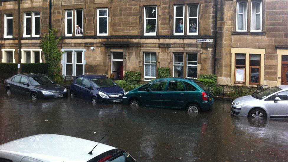 Cars in flood water on Balcarres Street in Edinburgh.