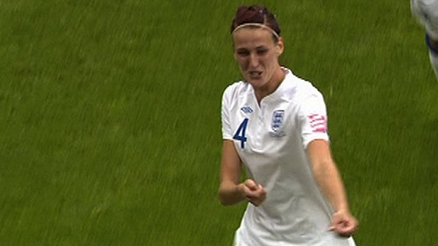 Jill Scott celebrates scoring for England