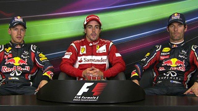 Sebastian Vettel, Fernando Alonso, Mark Webber