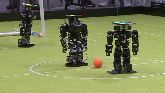 Robots playing football
