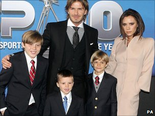 David and Victoria Beckham, with sons (from left to right) Brooklyn, Cruz and Romeo