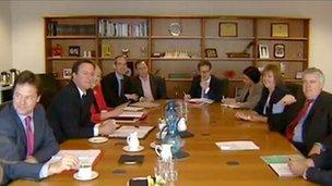 David Cameron and Nick Clegg met Carwyn Jones at the Senedd