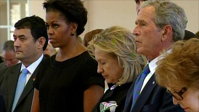 Michelle Obama, Hillary Clinton and George W Bush