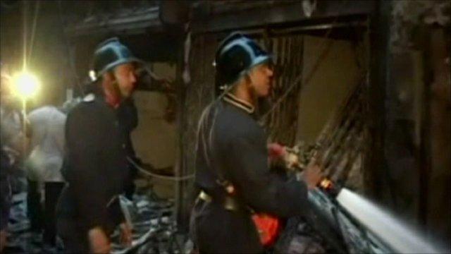 Fire crews in Mumbai