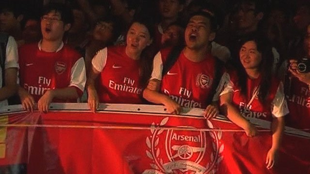 Arsenal fans welcome the side to China