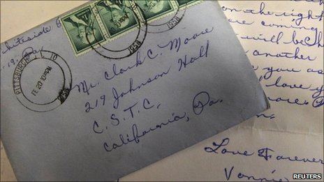 A letter, postmarked 20 February 958, which arrived at the California University of Pennsylvania this month