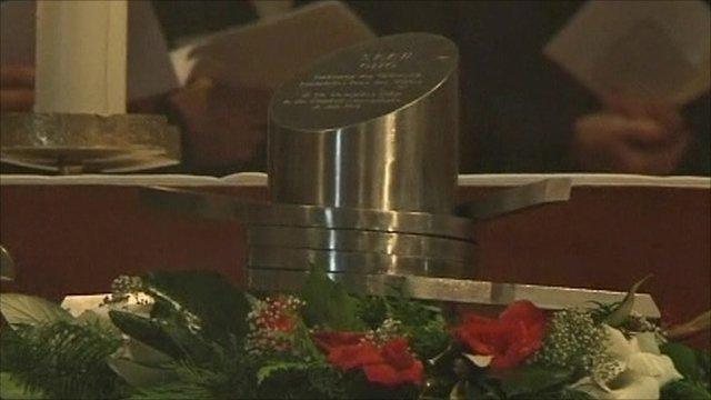 Heart of Otto von Habsburg in a silver urn
