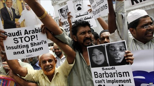 Muslims in Sri Lanka protesting against alleged torture by Saudi employers