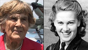 Joy Lofthouse in 2011 (left) and in the 1940s (right)