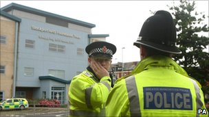 Police officers at Stepping Hill Hospital