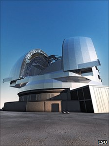 Artist's impression of the European Extremely Large Telescope (E-ELT). Photo: ESO