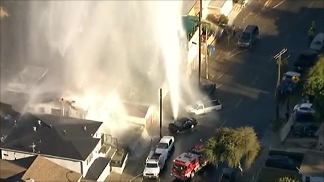 Fire hydrant explodes