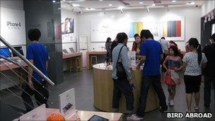Inside fake Apple store, Bird Abroad
