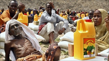 Famine victims at a camp in Mogadishu