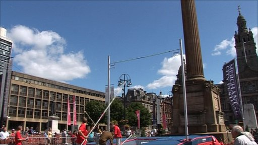 Pole vaulting in Glasgow's George Square