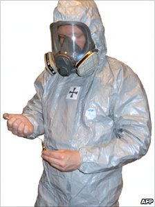 Image apparently of suspect Anders Behring Breivik in a protective suit