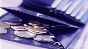 Coins in a wallet