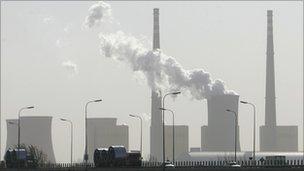 Cooling tower outside Beijing emitting smoke