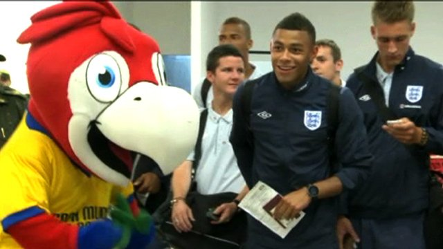 England Under-20s football team at Bogota airport in Colombia