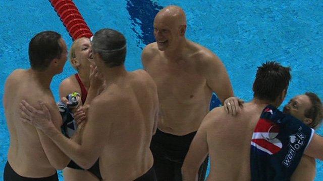 British Olympic legends race in the new London 2012 Aquatics Centre