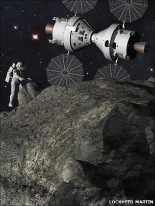 Astronaut at asteroid