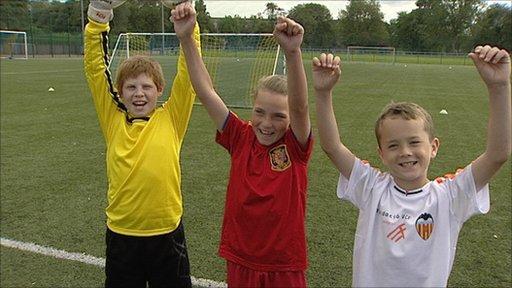 Young Scots enjoy football training
