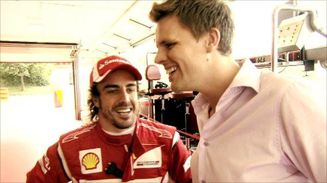 Fernando Alonso and BBC F1 presenter Jake Humphrey