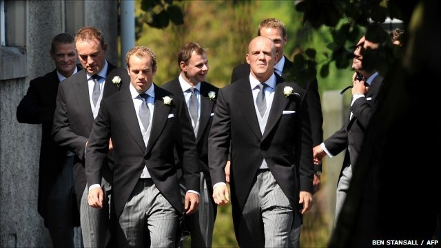 Mike Tindall arrives with his groomsmen, including fellow Gloucester players Iain Balshaw and James Simpson-Daniel