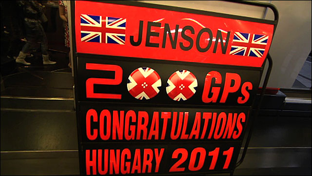 Jenson Button celebrates his 200th Grand prix