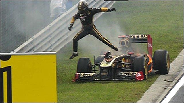 Nick Heidfeld escapes his burning car
