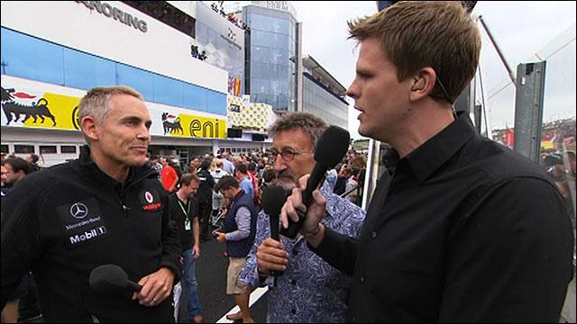 McLaren team principal Martin Whitmarsh talks to Eddie Jordan and Jake Humphrey