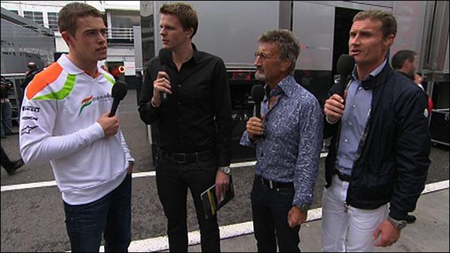 Paul Di Resta, Jake Humphrey, Eddie Jordan and David Coulthard