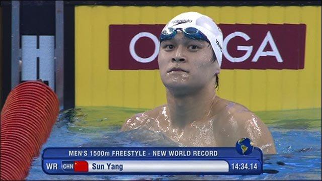 China's Sun Yang gets 1500m world record