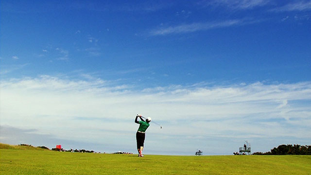 A golfer at Carnoustie
