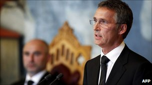 Prime Minister, Jens Stoltenberg, addresses a special session of parliament about the 22 July attacks