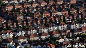 Aerial view of homes in London