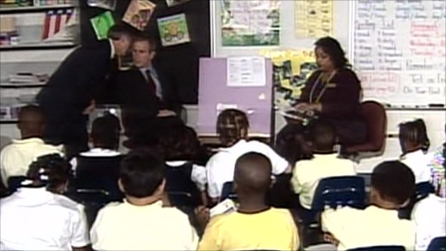 President George W Bush in classroom