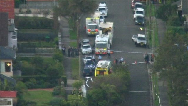 Aerial of Sydney street were the incident occurred