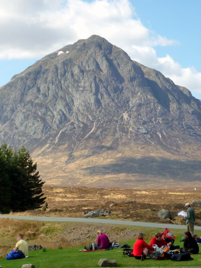 Walkers resting by Buachaille Etive Mor