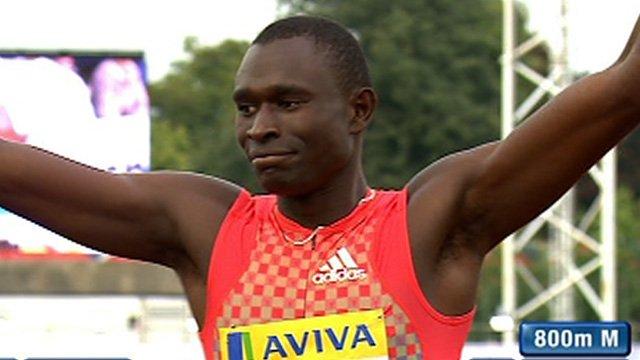David Rudisha celebrates winning the 800m