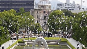 Doves are released at Hiroshima's peace memorial